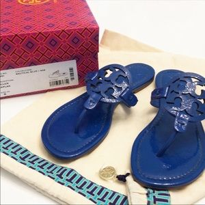 New Tory Burch Miller Naplak Logo Blue Sandal